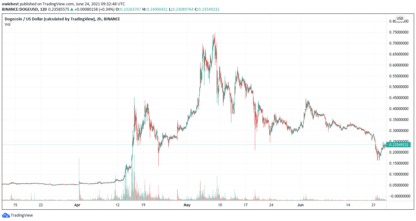 Doge price chart, showing the rise of dogecoin