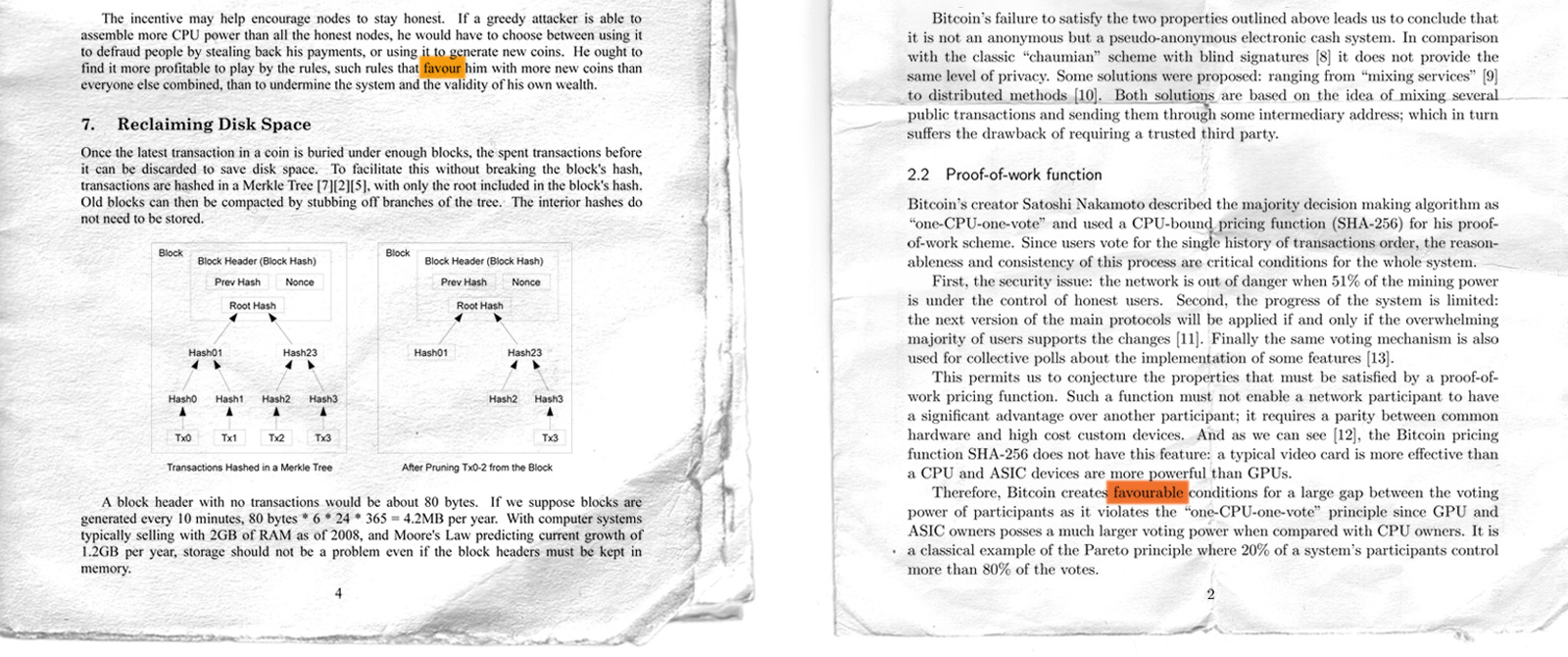 Nakamoto's whitepaper vs Monero whitepaper
