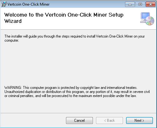 Vertcoin Once Click Miner Setup